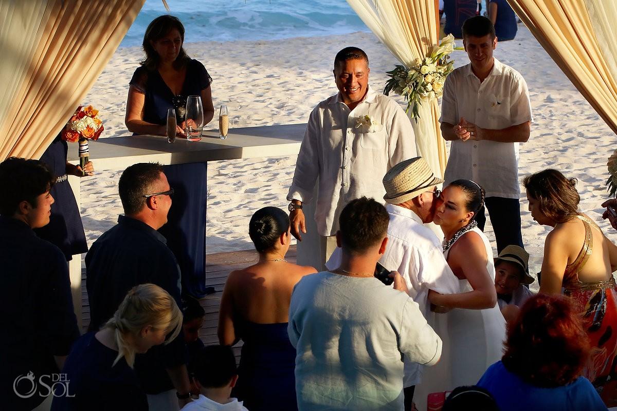 beautiful light beach wedding ceremony cancun mexico