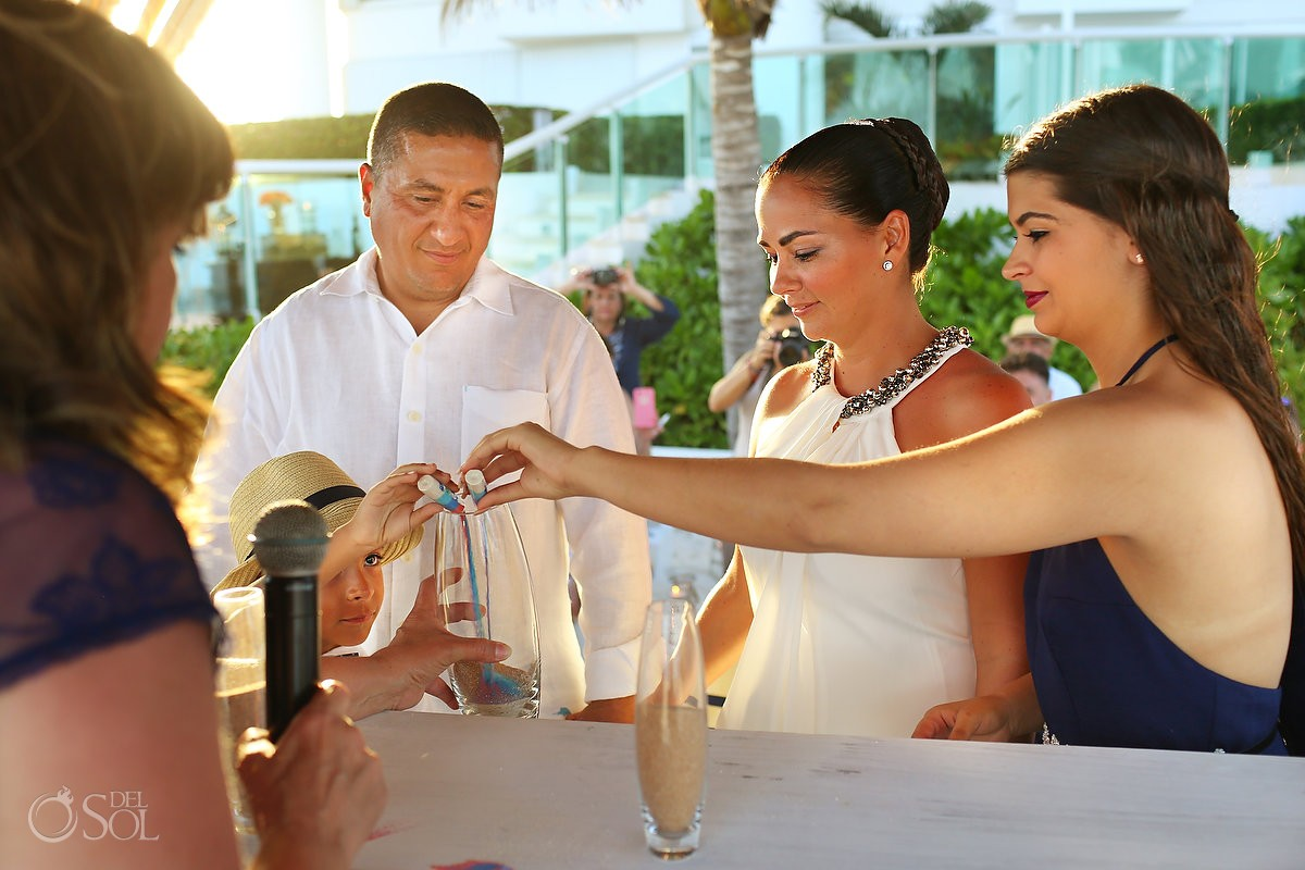 destination wedding photo of sand ceremony in cancun mexico