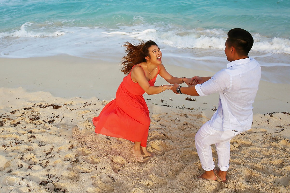 Engagement portraits in cancun mexico at the Casa Magna