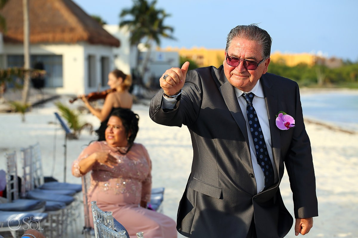 fun wedding photo thumbs up wedding guest Grand Coral Beach Club