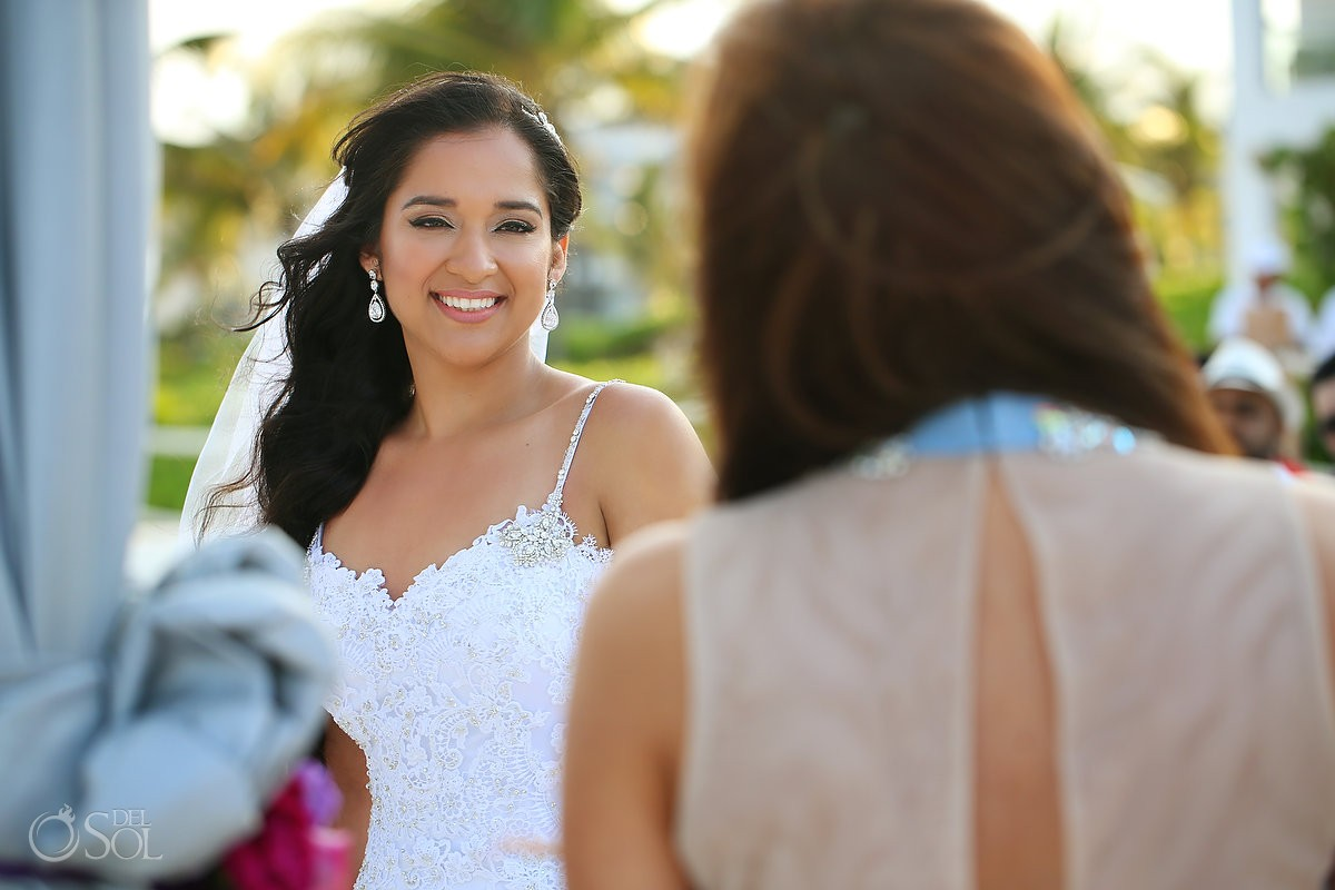 beautiful bride smiling beach wedding Grand Coral Beach Club