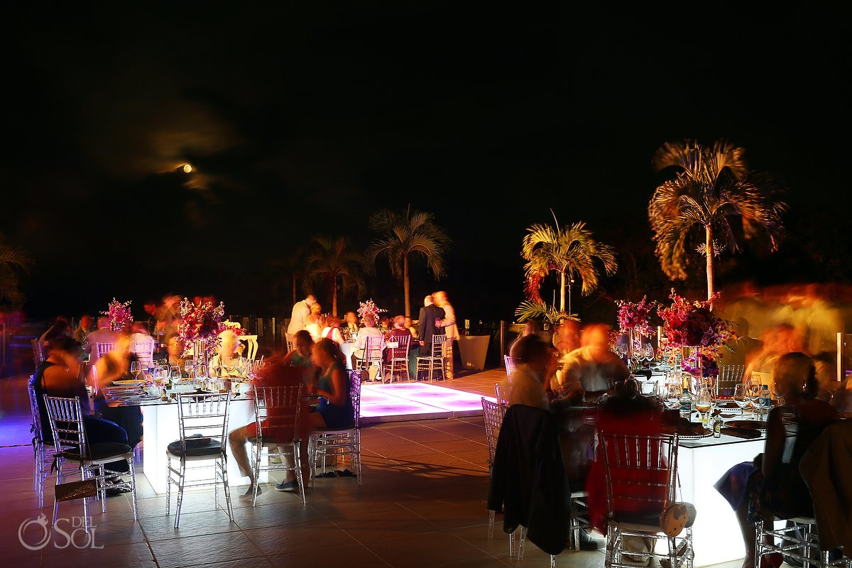 weddings riviera maya wedding reception dinner set up Grand Coral Golf Camp full moon