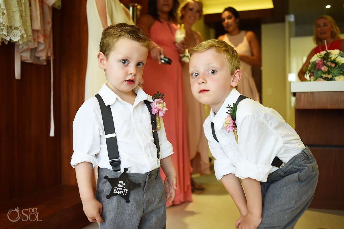 cute kids wedding ring security, ring bearer, destination Wedding Grand Hyatt Playa del Carmen Mexico