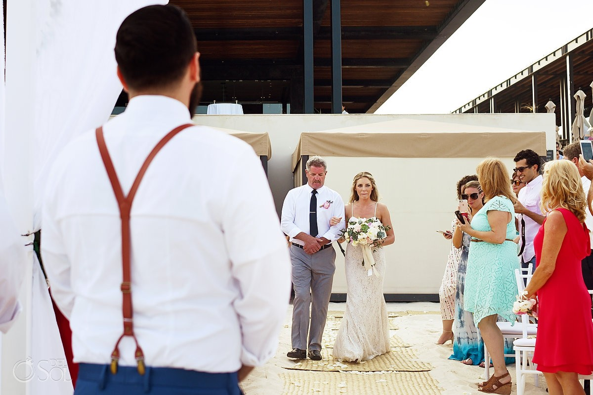 bride entrance Beach Wedding Grand Hyatt, Playa del Carmen, Mexico