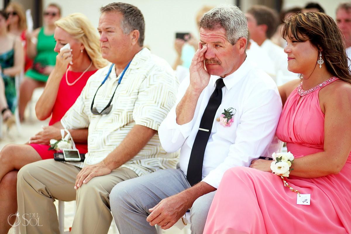 guests crying Beach Wedding Grand Hyatt, Playa del Carmen, Mexico