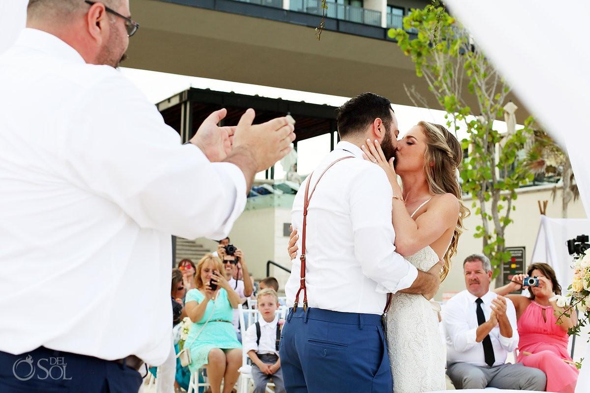 first Kiss Beach Wedding Grand Hyatt, Playa del Carmen, Mexico