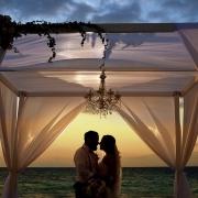 wedding portrait sunset silhouette gazebo beach wedding Grand Hyatt, Playa del Carmen, Mexico