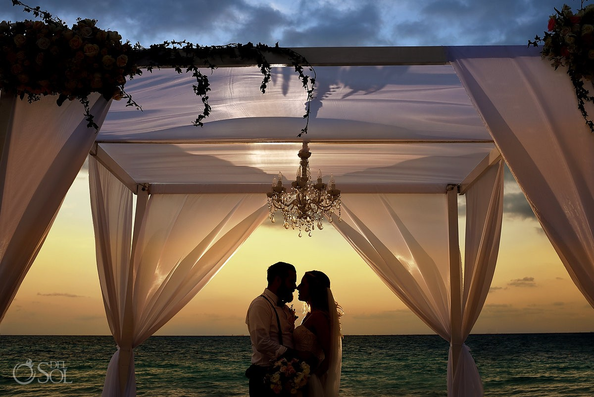 wedding portrait sunset silhouette gazebo beach wedding Grand Hyatt, Playa del Carmen, Mexico
