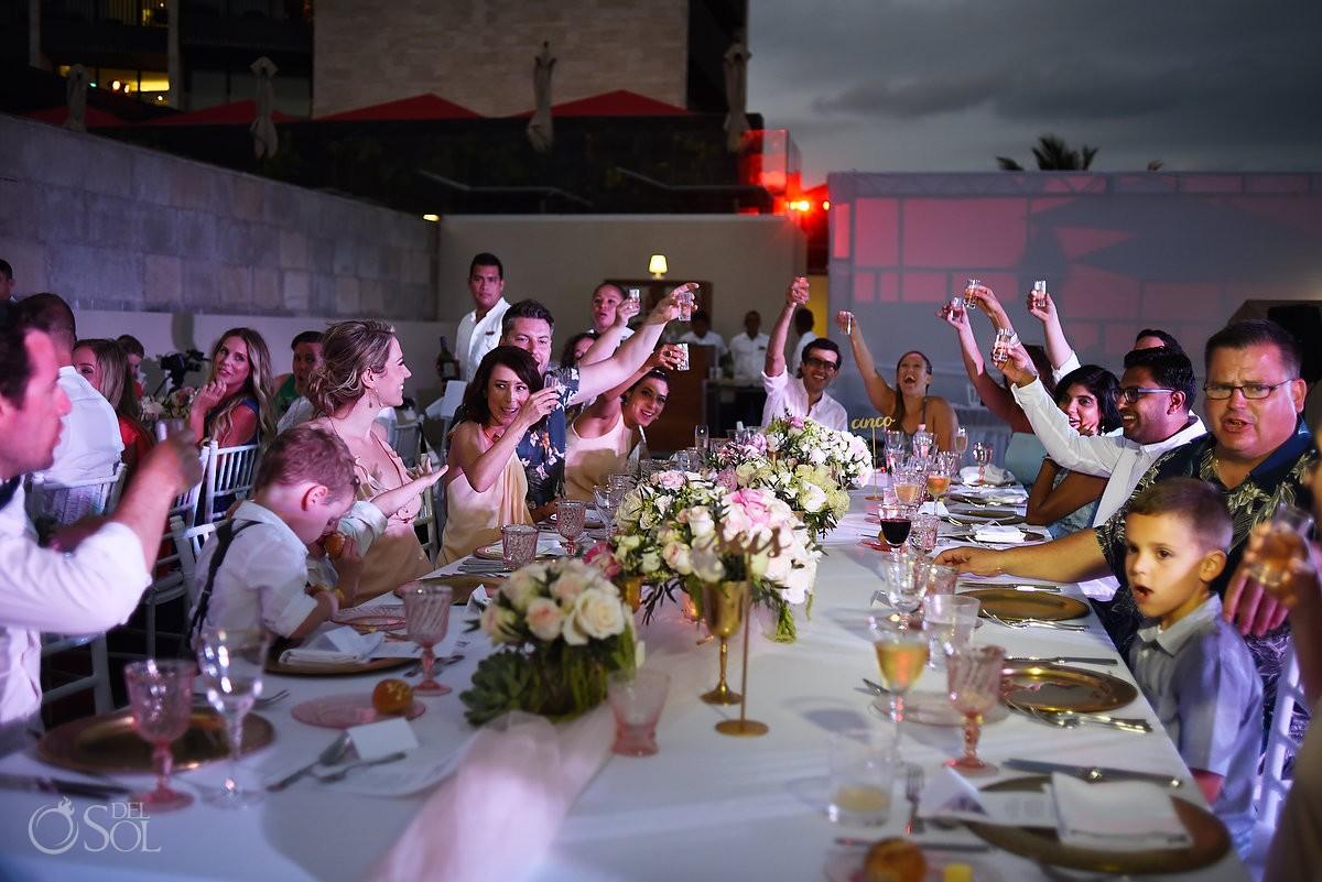 tequila shots toast beach wedding reception Grand Hyatt, Playa del Carmen, Mexico