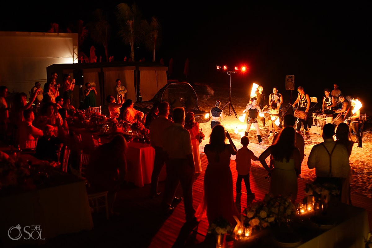 fire show wedding reception entertainment ideas, beach Grand Hyatt, Playa del Carmen, Mexico