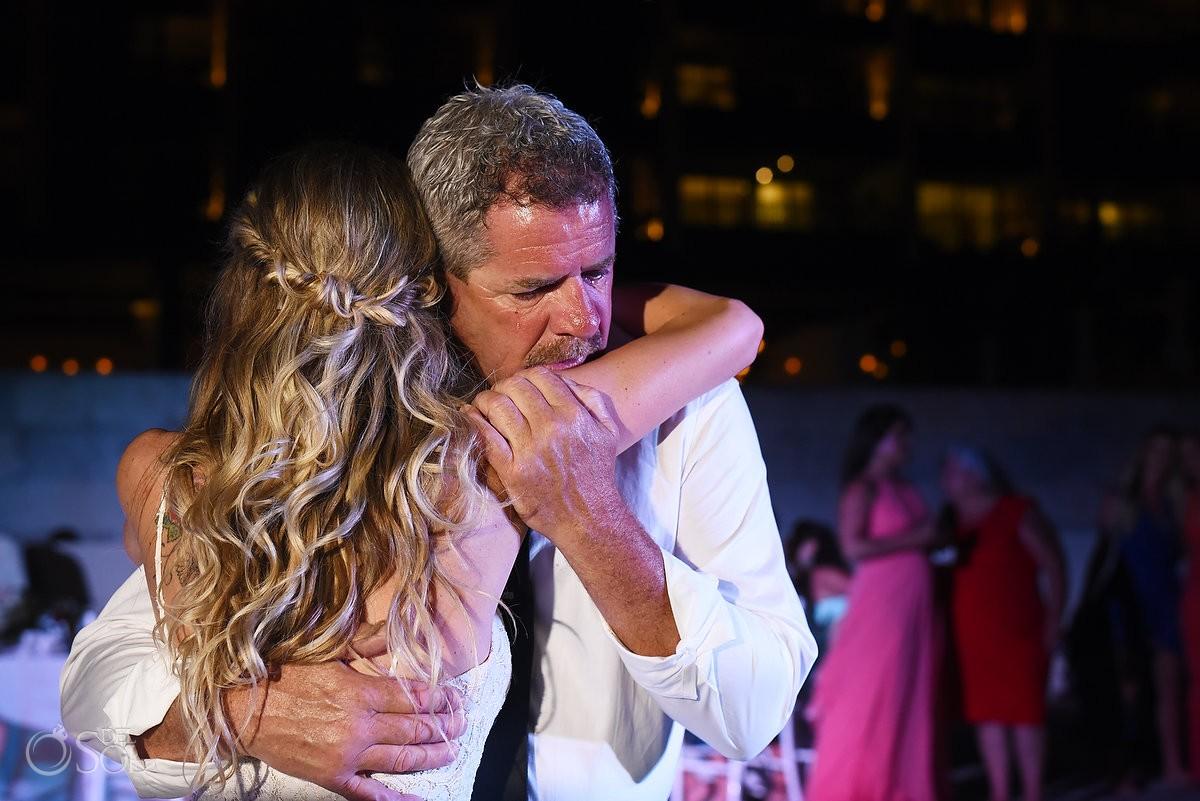 father daughter dance beach wedding reception Grand Hyatt, Playa del Carmen, Mexico