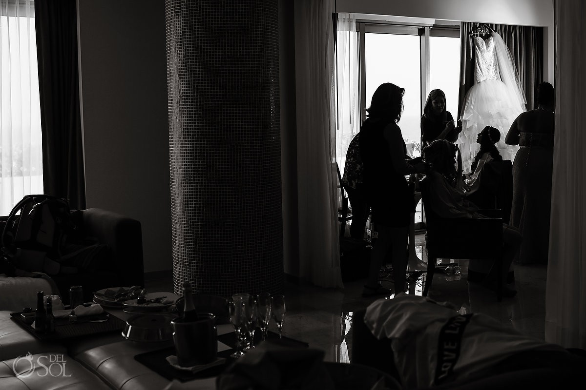 Artistic black white getting ready silhouette, wedding Live Aqua Cancun Mexico