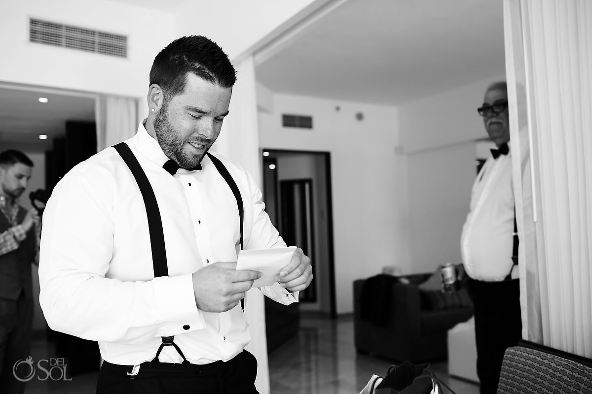 groom opening wedding gift letter, getting ready wedding Live Aqua Cancun Mexico