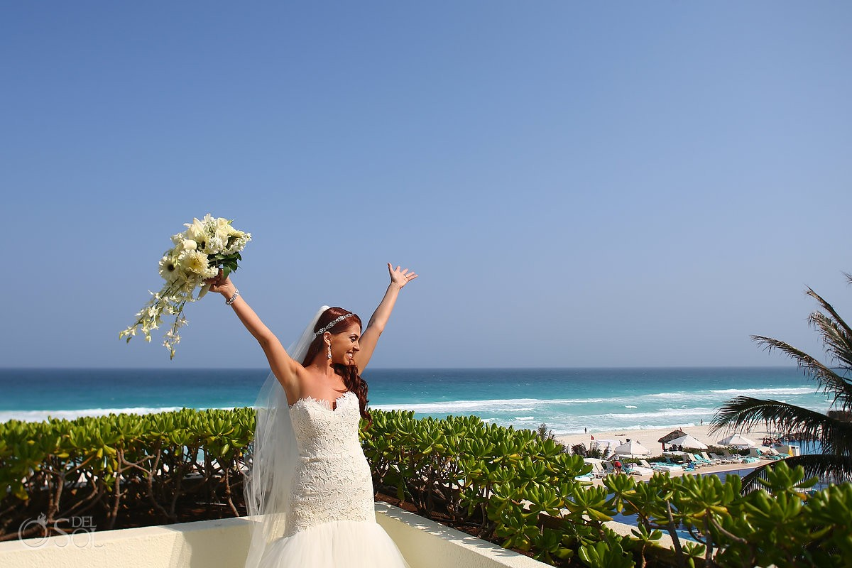 fun bridal portrait balcony Caribbean views getting ready destination wedding Live Aqua Cancun Mexico