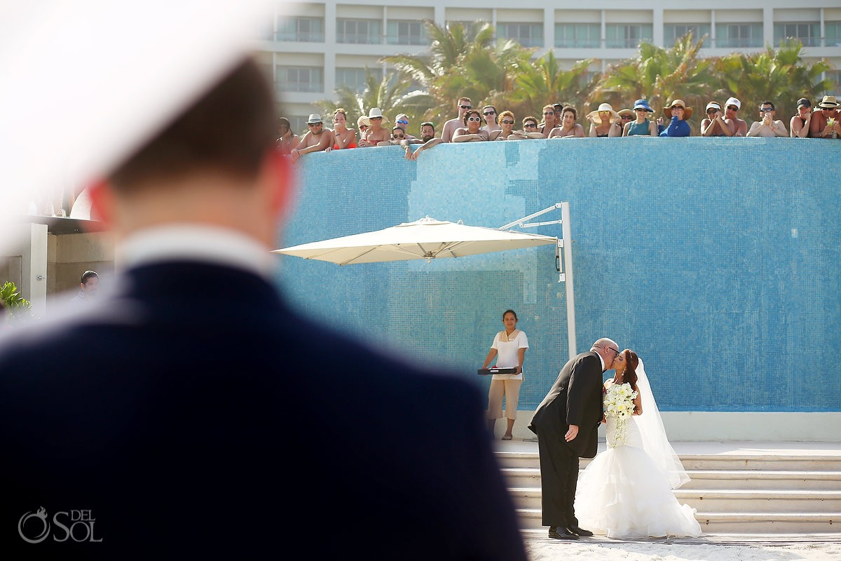Bride and father walk the aisle during destination wedding processional at Live aqua cancun