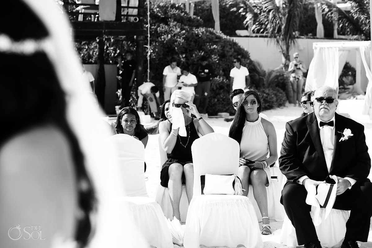crying wedding guest black white beach wedding Live Aqua Cancun Mexico