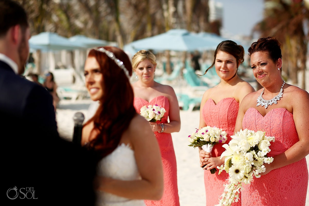 emotional bridesmaid coral dress beach wedding Live Aqua Cancun Mexico