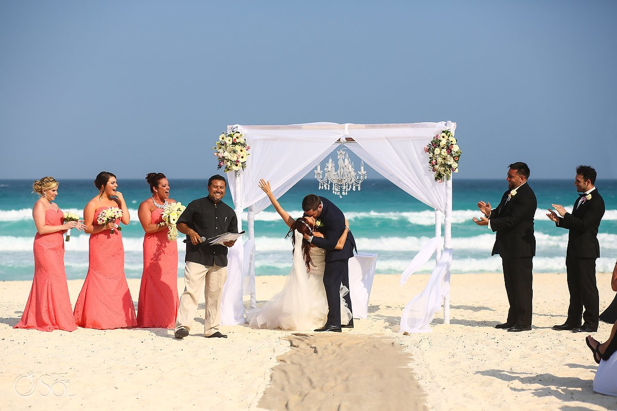 first kiss destination wedding beach Live Aqua Cancun Mexico