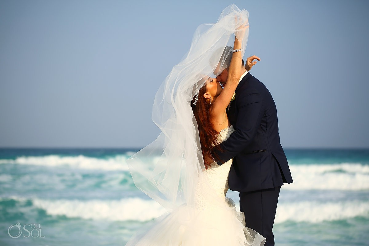 Beach wedding portrait Live Aqua Cancun, Mexico