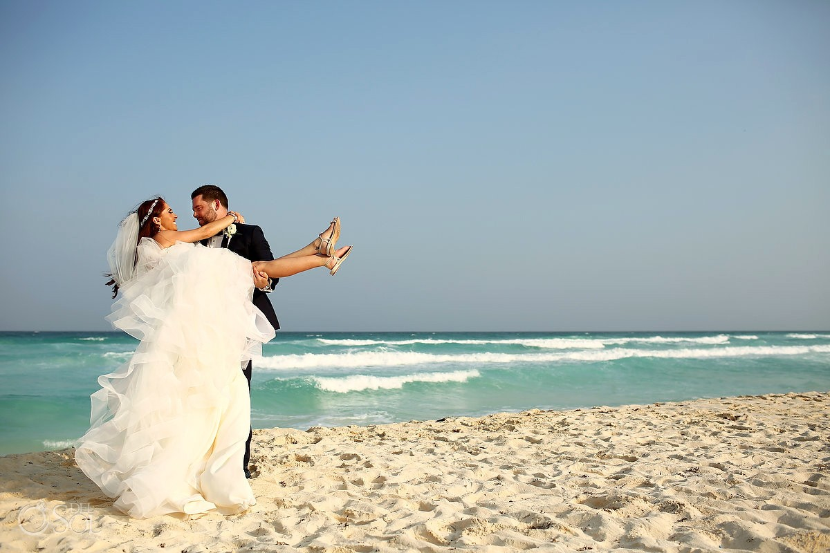 destination wedding beach portrait Live Aqua Cancun, Mexico