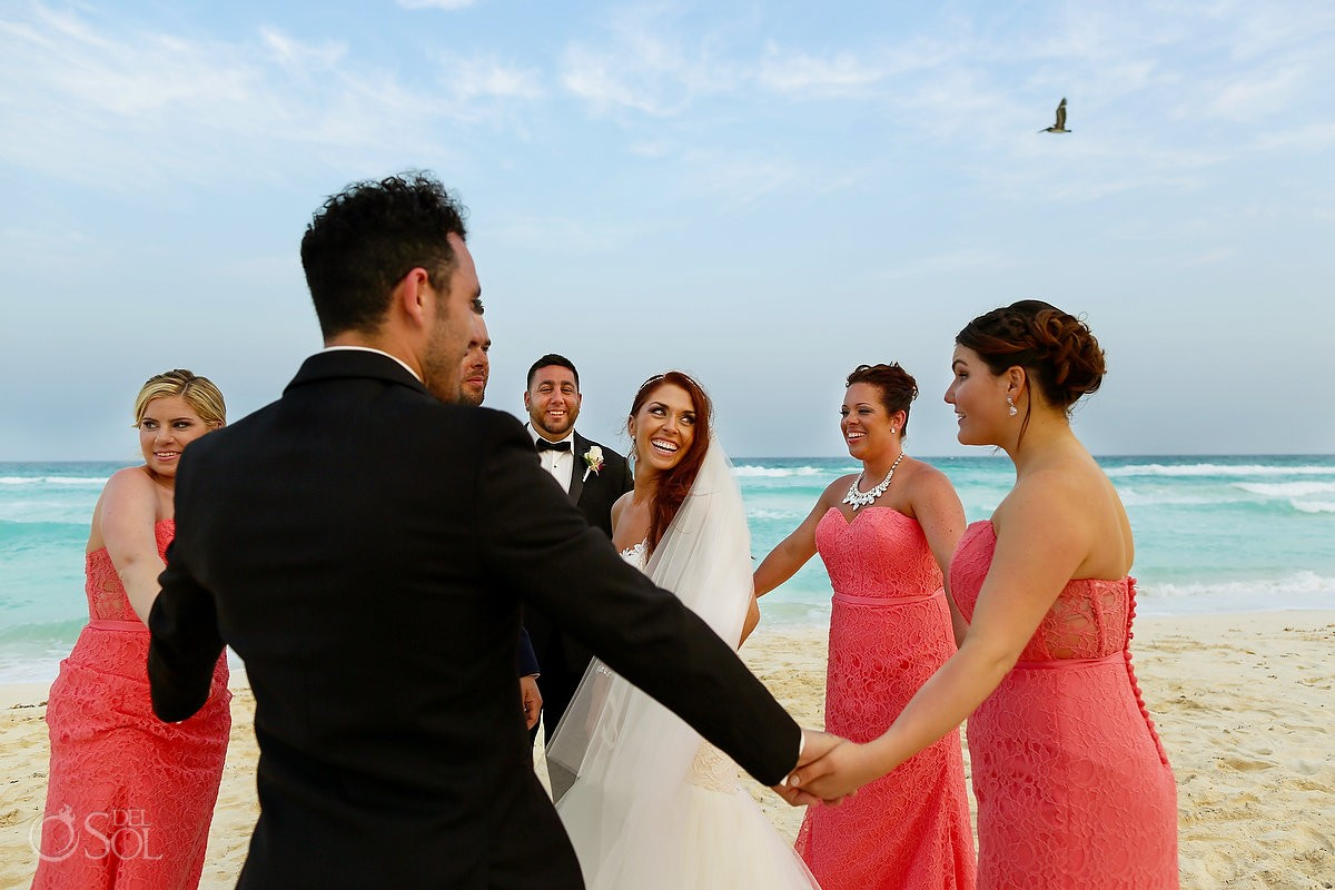 fun wedding portrait bridal party beach Live Aqua Cancun, Mexico