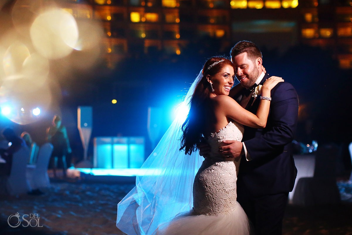 night portrait beach wedding reception Live Aqua Cancun, Mexico