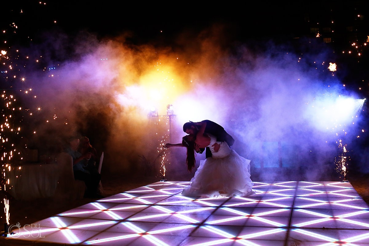 first dance fireworks Wedding reception Live Aqua Cancun, Mexico