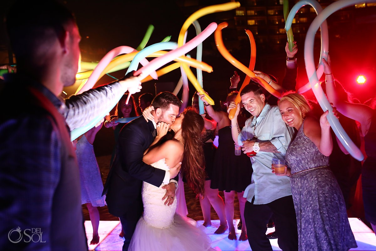 balloon dance floor fun destination wedding reception Live Aqua Cancun, Mexico
