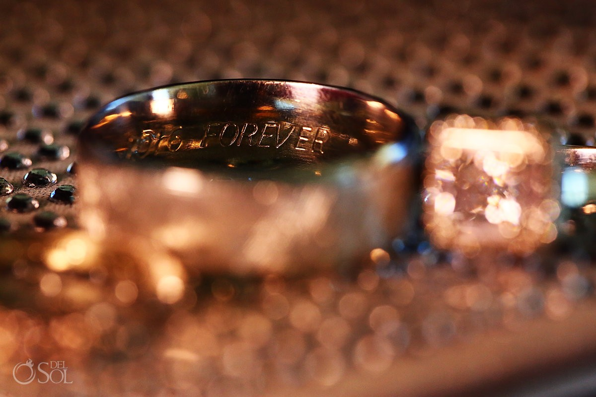 Wedding ring inscription detail
