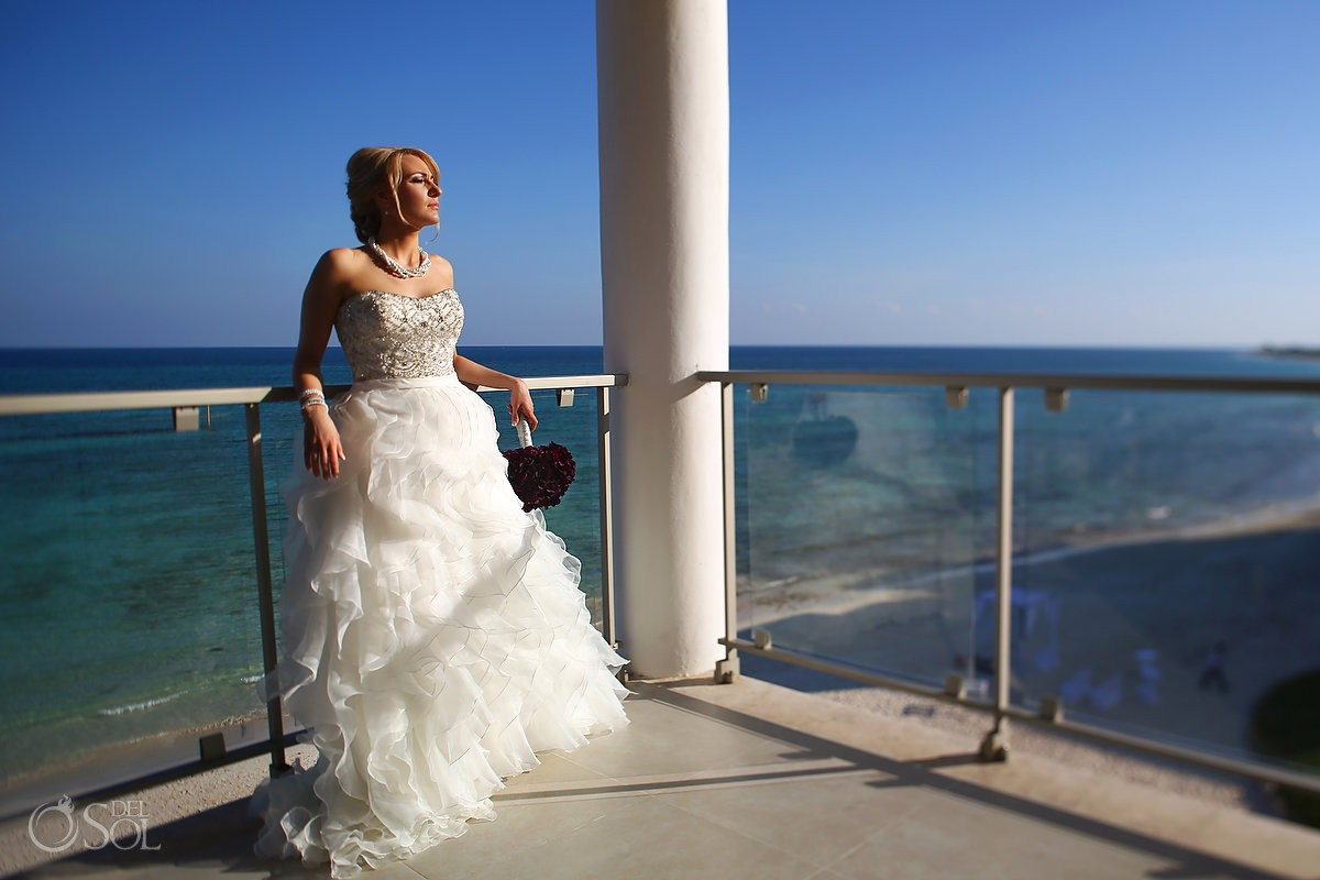 Bride portrait Destination Wedding Now Jade blue caribbean ocean