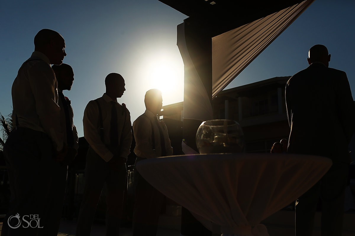 artistic silhouette destination wedding Now Jade gazebo pergola, Puerto Morelos Mexico