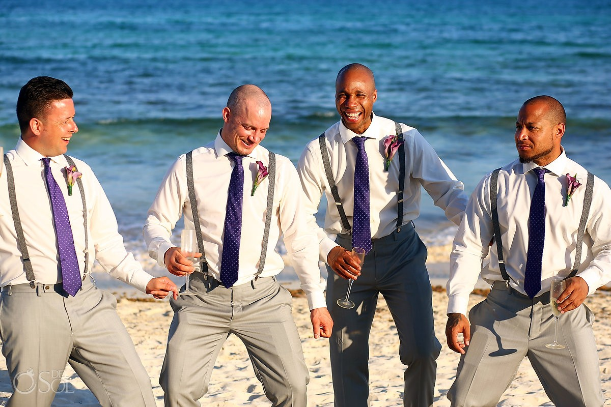 funny groomsmen beach portrait destination wedding Now Jade