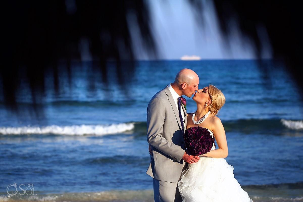 beach wedding portrait destination wedding Now Jade, Puerto Morelos Mexico