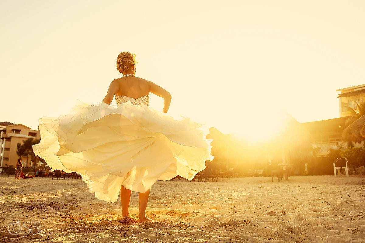 dramatic bride wedding dress portrait sunset golden hour Now Jade, Puerto Morelos Mexico