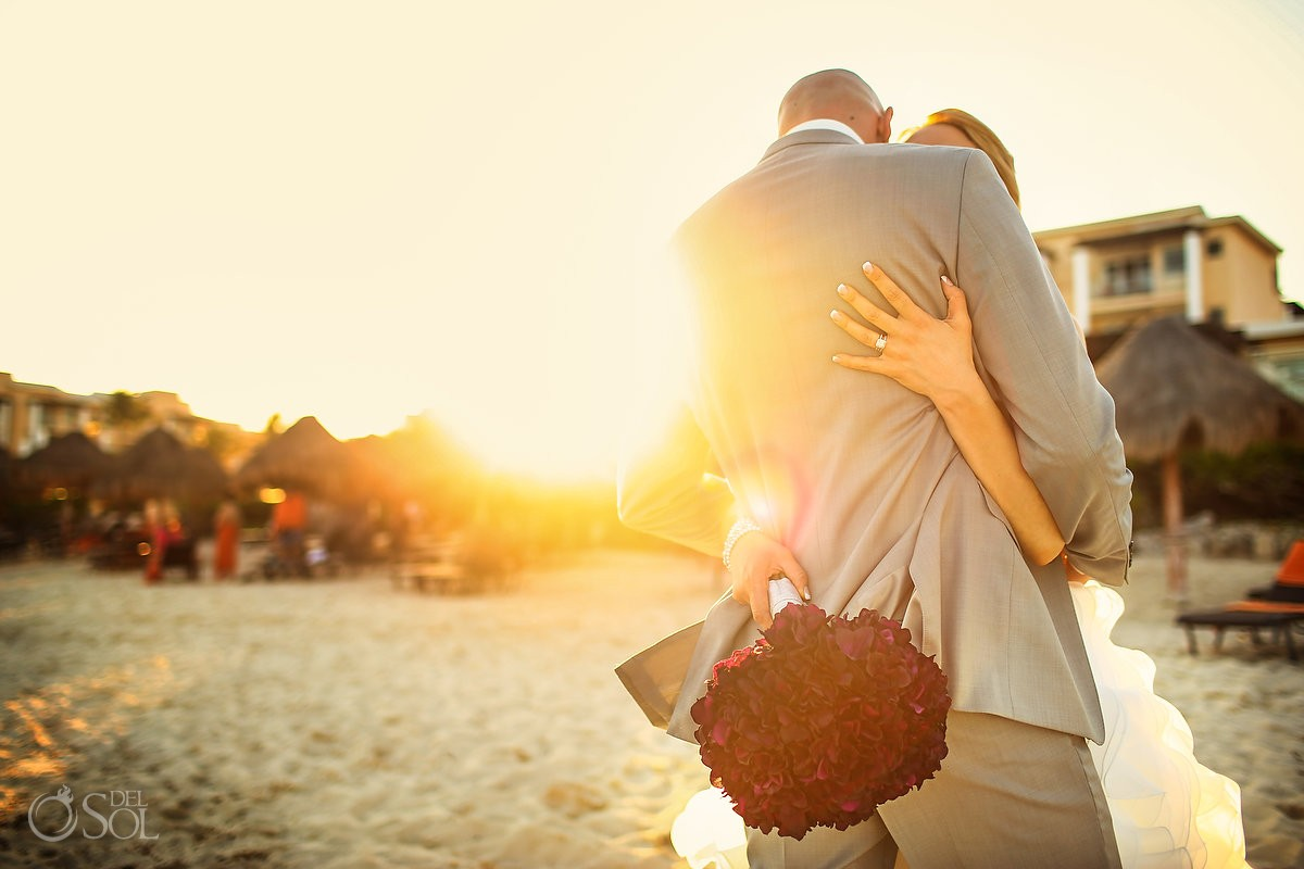 beach destination wedding portrait sunset golden hour Now Jade, Puerto Morelos Mexico