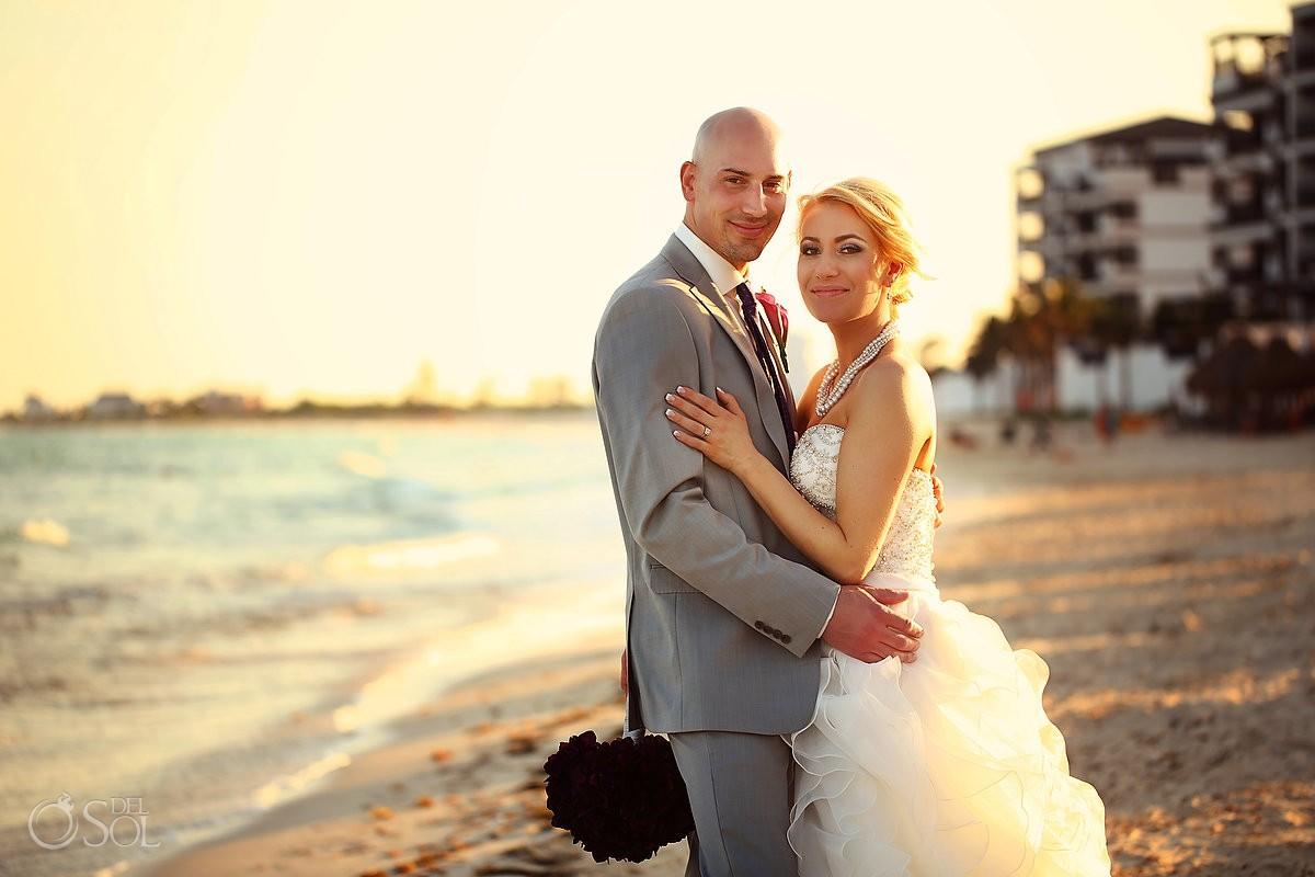 beach destination wedding portrait sunset golden hour Now Jade, Puerto Morelos Mexico