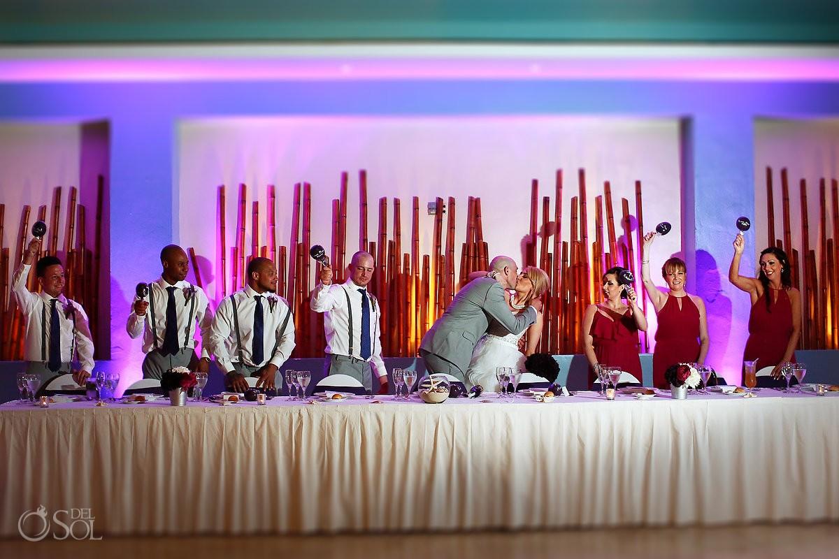 bride groom kiss shaking maracas wedding reception bamboo room Now Jade