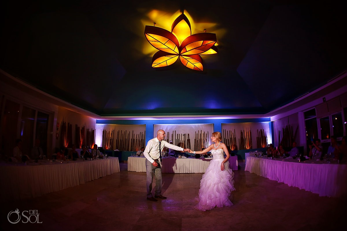 first dance wide angle destination wedding reception bamboo room Now Jade