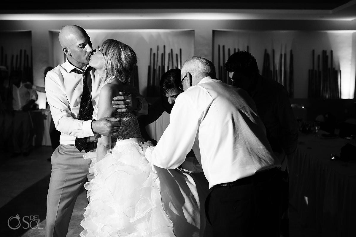 black white bride groom kiss fun wedding reception Bamboo Room Now jade