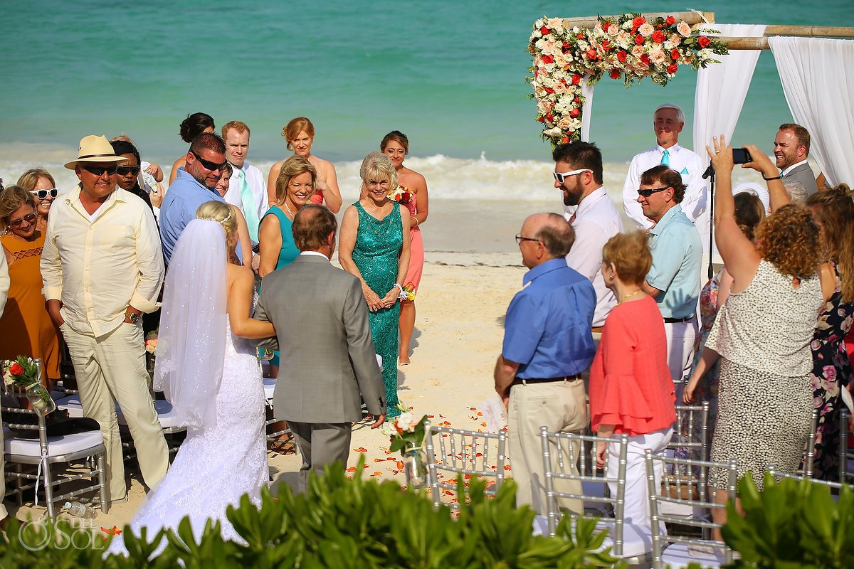 bride entrance first look beach Now Sapphire destination wedding Puerto Morellos, Mexico