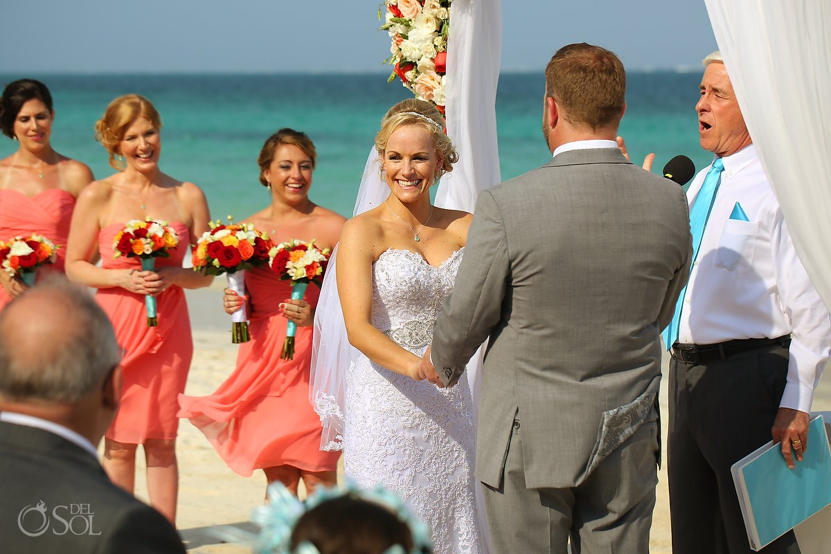 happy bride smile beach wedding Now Sapphire destination wedding Puerto Morellos, Mexico