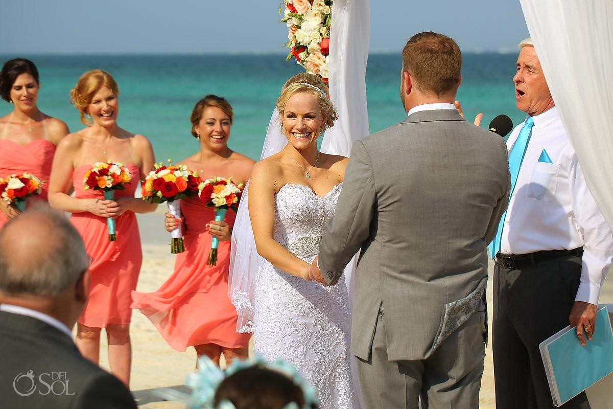 happy bride smile beach wedding Now Sapphire destination wedding Puerto Morellos, Mexico