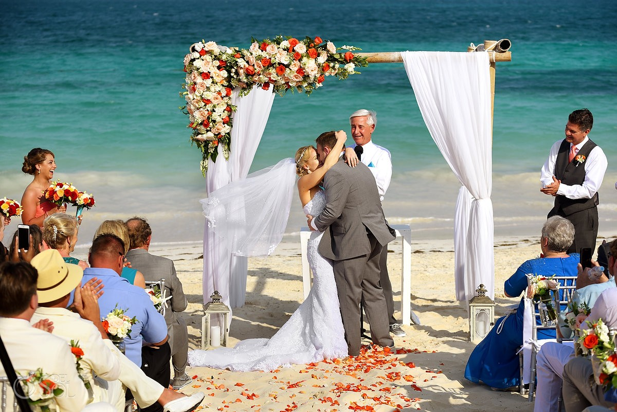 first kiss beach Now Sapphire destination wedding Puerto Morellos, Mexico