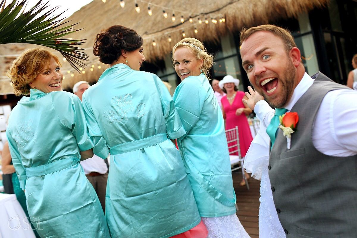 funny wedding picture bride matching robe reception tequila terrace Now Sapphire Puerto Morellos, Mexico