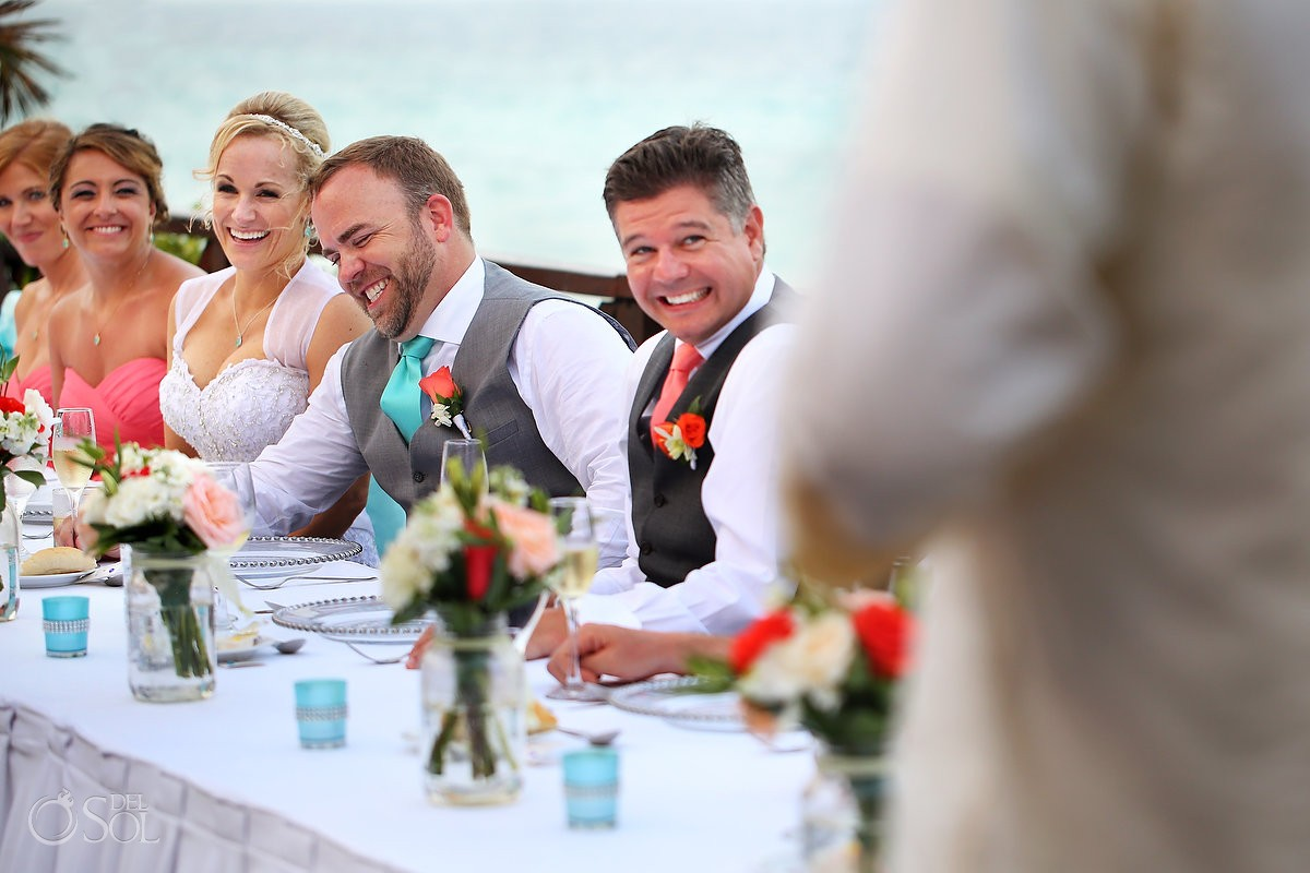 groom laughing speeches destination wedding reception tequila terrace Now Sapphire Puerto Morellos, Mexico