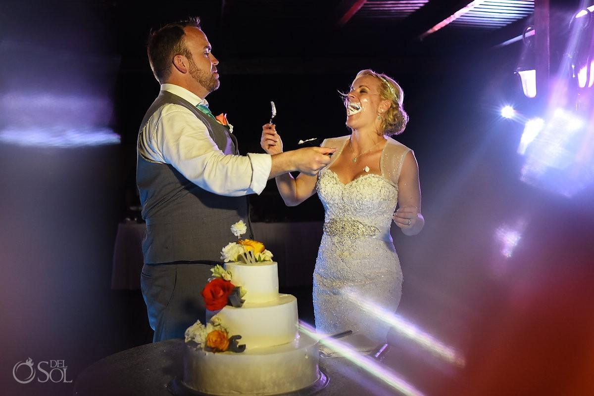 cake cutting destination wedding reception tequila terrace Now Sapphire Puerto Morellos, Mexico