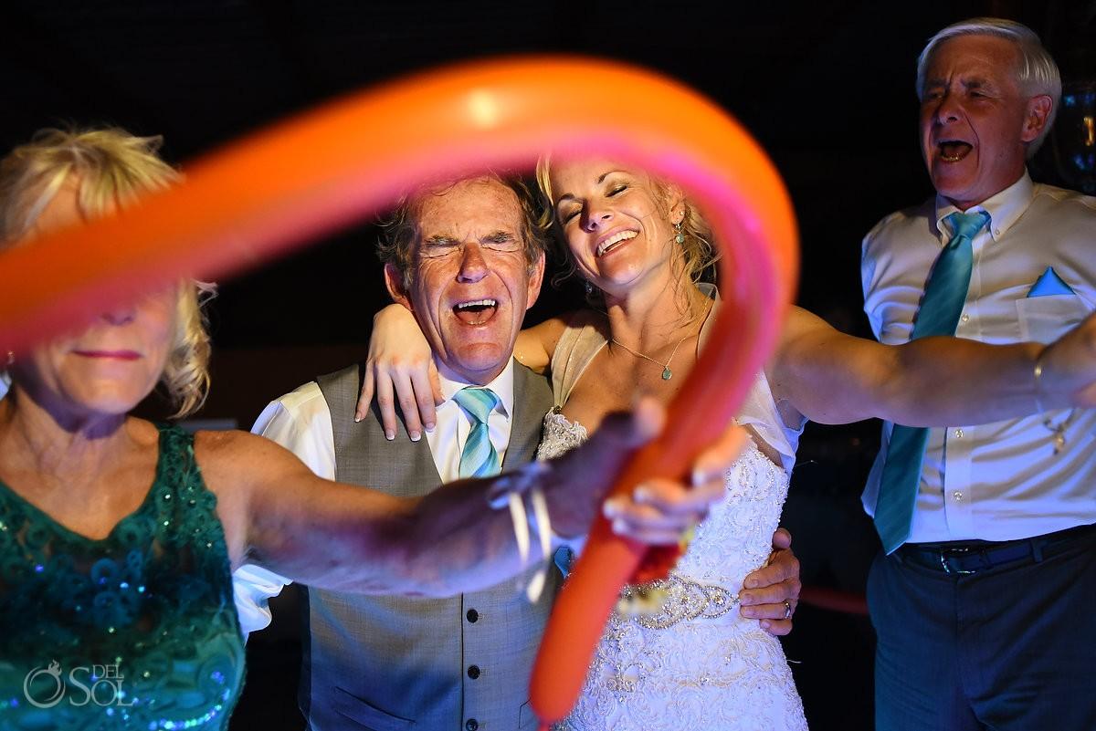 ballons dancing fun destination wedding reception tequila terrace Now Sapphire Puerto Morellos, Mexico