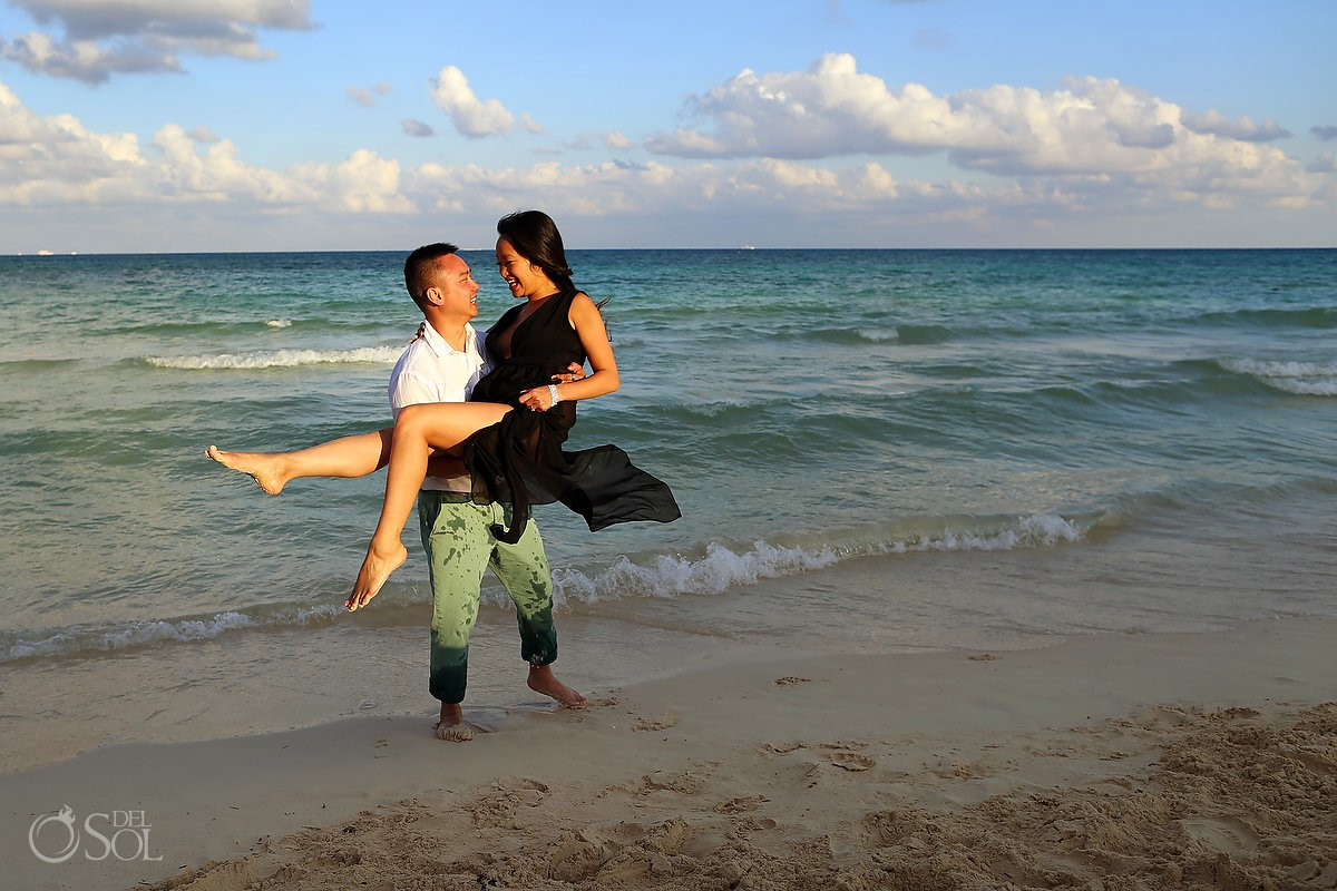 golden hour sunset beach engagement portrait playa del carmen