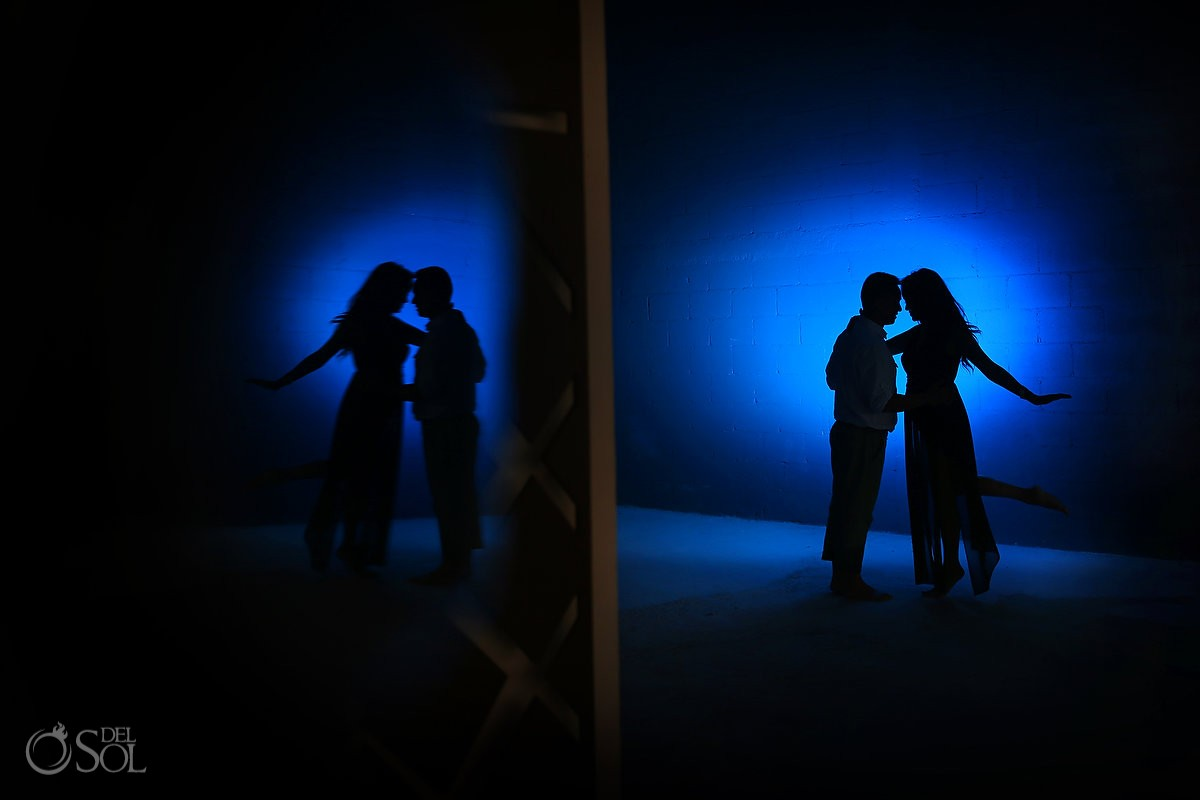 artistic silhouette blue reflection kiss engagement portrait playa del Carmen, Mexico