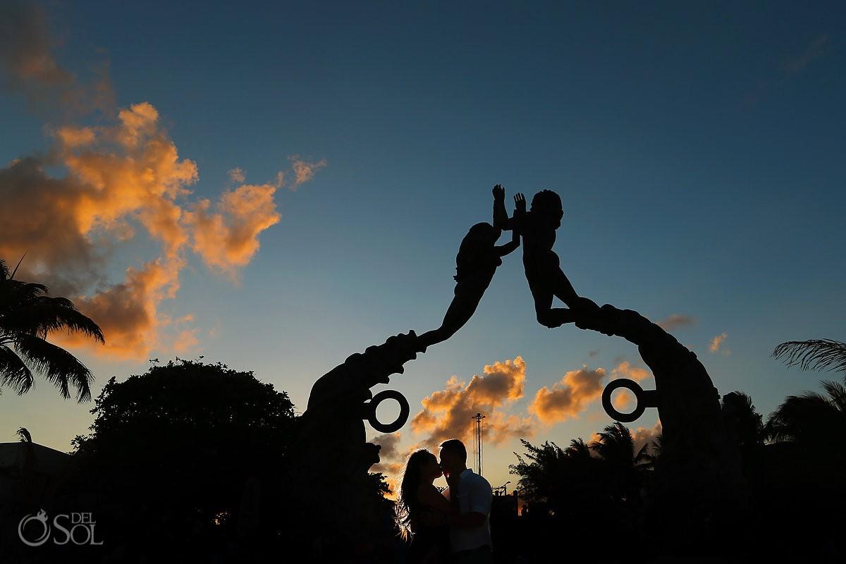 Playa del Carmen Portal Maya Sculpture silhouette creative engagement portrait